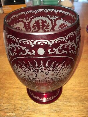 Vintage Bohemian Ruby Red Cut to Clear Glass Vase Flower Urn Front Design Czech