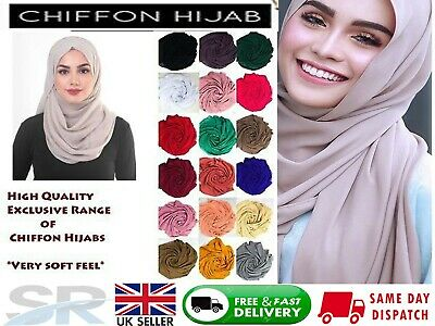 NEW Large MAXI Chiffon Hijab Soft Shawl Poly Georgette Fabric Scarf Shawl Sarong