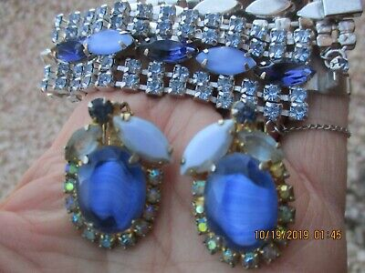 """Vintage Mid Century Glass Bracelet 7"""" W/Safety Chain And Clip On Earrings~Blue"""