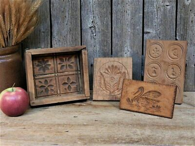 4 Rare Antique Primitive Wood Carved Butter Stamps Mold Press Lot AAFA
