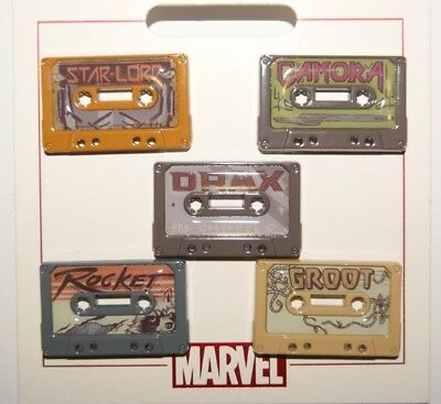 Disney Parks Guardians of The Galaxy Cassette Tapes 5 Pin Set New on Card