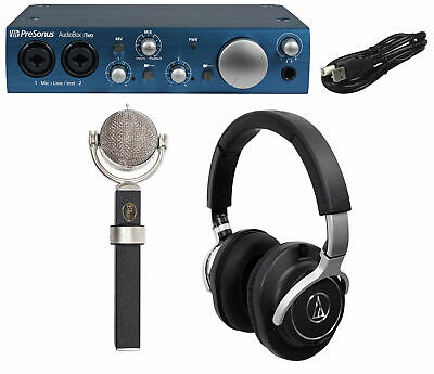 Blue Dragonfly Studio Condenser Microphone+Audio Technica Headphones+Interface