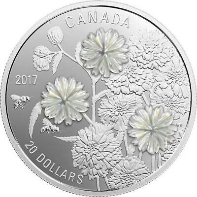 Canada - 2017 'Pearl Flowers' Proof $20 Silver Coin 1oz .9999 Fine w COA/BOX