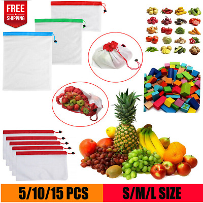 15x Eco Friendly Reusable Mesh Produce Bags Superior Double-Stitched Strength CJ