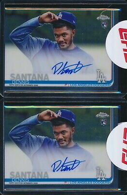 (2) 2019 Topps Chrome Dennis Santana Dodgers Base Rookie Auto Autograph Lot!