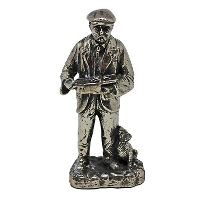Antique Heavy Iron Silver Plated Old Man with Dog Statue Figurine (ANT115-)