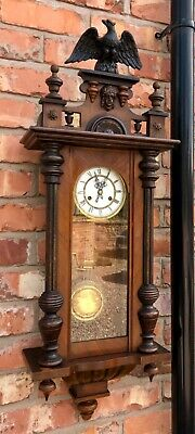Antique Walnut Vienna Wall Clock dil06 : Chimes Hour and Half Past
