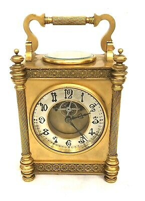 Antique French DIETTE HOUR Gilt Carriage Mantel Clock with Thermometer & Compass