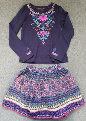 Monsoon Girls Long Sleeve Top And Skirt Outfit, Multi Design, 5 -7 Years