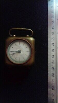 antique travel carriage clock, brass, XIXc, works, but needs attention