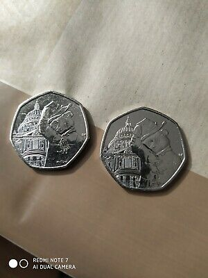 2019 UNCIRCULATED PADDINGTON BEAR AT ST PAULS CATHEDRAL 50P COINS X 2 lot2
