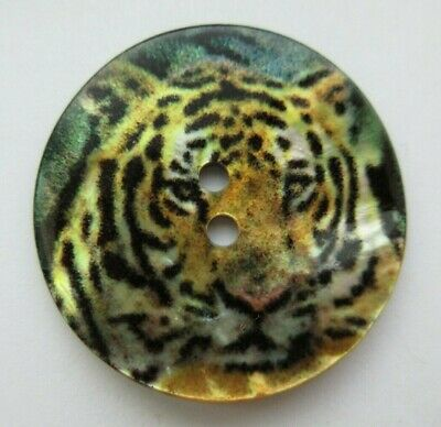 Lovely LARGE Antique~ Vtg Carved MOP Shell Transfer Picture BUTTON Tiger (C)
