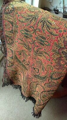 Stunning Vintage Tapestry Reversable Paisley Pattern Throw/Blanket