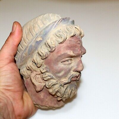 SCARCE-GANDHARA STUCCO MALE HEAD FRAGMENT TERRACOTTA 200-300AD-1047 grams