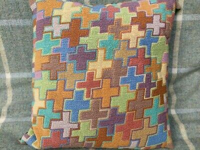 Ehrman Tapestry Needlepoint Kaffe Fassett Russian Crosses Completed Cushion