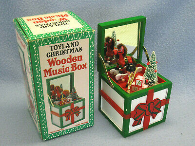 Vintage Toyland Christmas Wooden Music Box, Hand Crafted and Painted, Taiwan