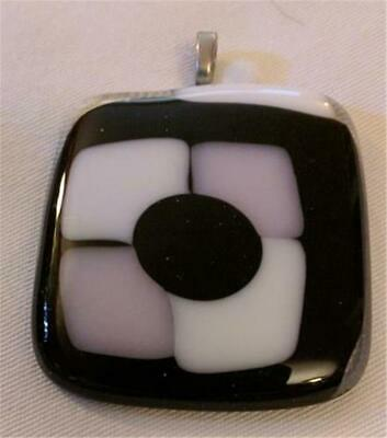 Incredible Large Hand Crafted Square Glass Pendant Black White Mauve/Pink Artsy