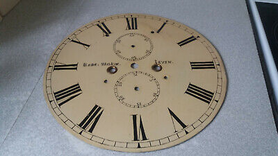 Antique Painted Enamel Grandfather Clock Face / Dial- Robert  Wilkie - Leven