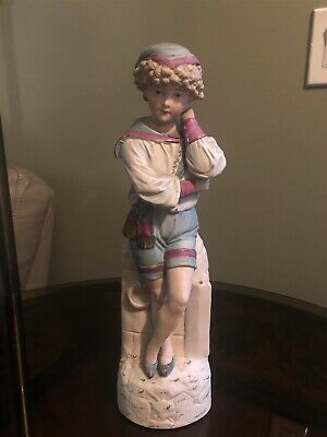 """Large 14 1/2""""Antique GERMAN Statue of Boy resting head on hand"""