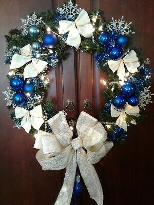 """Hand Crafted Holiday Blue,Silver White 22"""" Wreath With Lights Bows & Ornaments"""