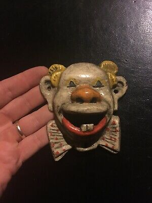 Cast Iron Clown Bottle Opener Solid Metal Patina Paint Finish F/g Beer Brewery