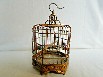 Chinese BIRDCAGE VTG. Bamboo Carved DRAGONS w/B/ W Porcelain Feeding Bowls