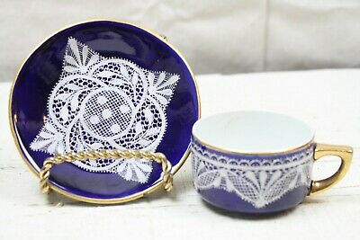 Hand Painted Lace on Demitasse Tea Cup & Saucer Cobalt blue White Enameled Lace