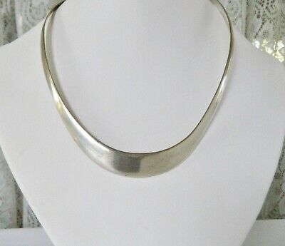 Vintage Sterling Silver TF-01 MEXICO TAXCO Modernist Collar Choker Necklace 38g
