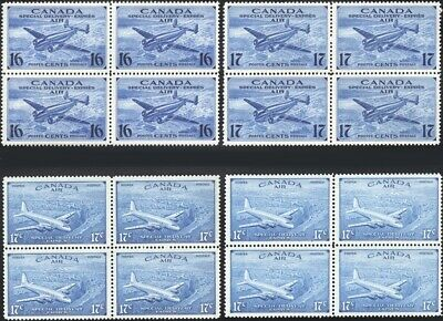 CANADA, 1942-46. Air Mail Special Delivery CE1-4 Blocks, Mint