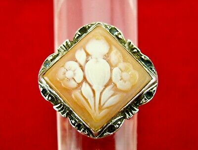 Antique Art Deco Sterling Silver & Cameo Carved Shell Cocktail Ring SZ 7.5