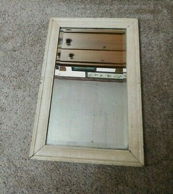 Antique Beveled Glass Mirror Oak Wood Frame Primitive Crackled Paint Distressed