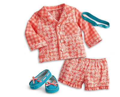 American Girl Doll Tenney Grant Gingham Pajamas Set Outfit RETIRED