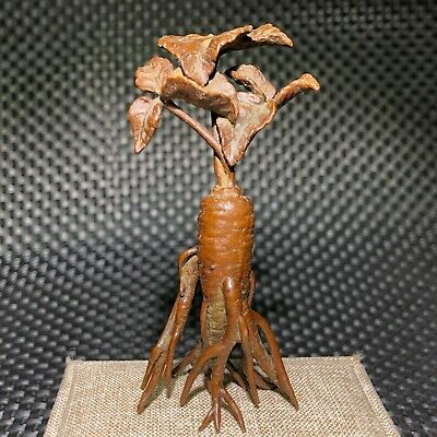 Chinese Old Solid Copper Handwork Vintage Collectible Ginseng Ornament Statue