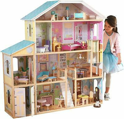 Girls Large Wooden Dollhouse Barbie Size Furniture With 34-Piece Accessory Pack