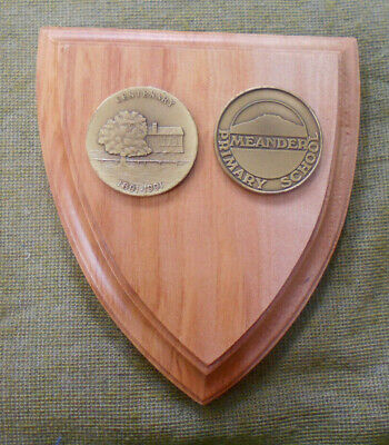 #D392. TWO MEANDER PRIMARY SCHOOL CENTENARY MEDALS ON WOOD PLAQUE 1891 to 1991