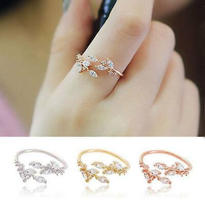 Women Adjustable Rings Ladies Women Ring Leaves Party Jewlery