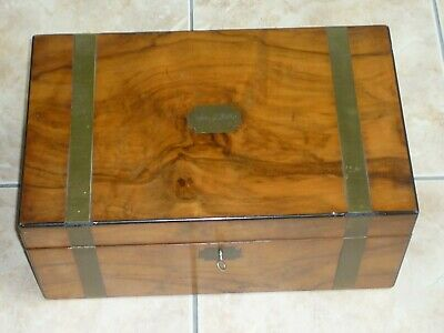 Large Victorian writing slope box with secret drawers, lock & key, leather pad