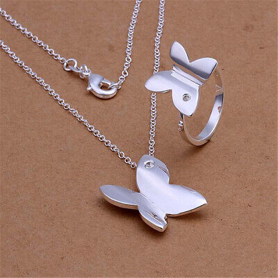 wholesale 925 silver women Charm Ring necklace jewelry set wedding hot Gift lady