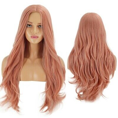 70cm Ladies Womens Pink Wig Long Curly Wavy Wig Hair Cosplay Party Costume Wigs