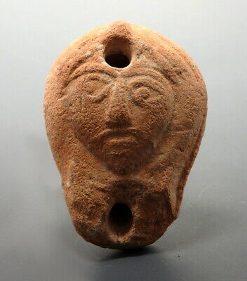 Small Roman Terracotta Oil Lamp Depicting Face (M798)