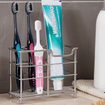 Home Bathroom Stainless Steel Premium Toothbrush Toothpaste Cup Holder Stand US