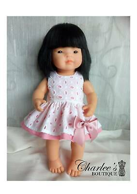 38cm Miniland doll dress with pink bow(MADE IN PERTH)