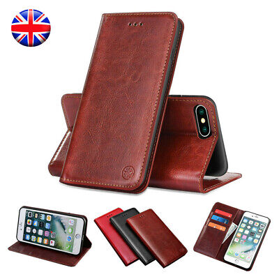 Genuine Leather Flip Wallet Case Cover For iPhone 6s 7 8 Plus 5s SE XR XS Max X