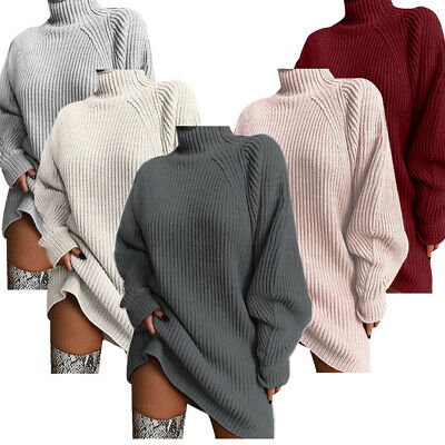 Women Baggy Knitted Sweater Pullover Mini Dress Ladies Long Sleeve Jumper Blouse