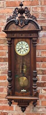 MASSIVE Antique GUSTAV BECKER Walnut Double Weighted Vienna Wall Clock dil10