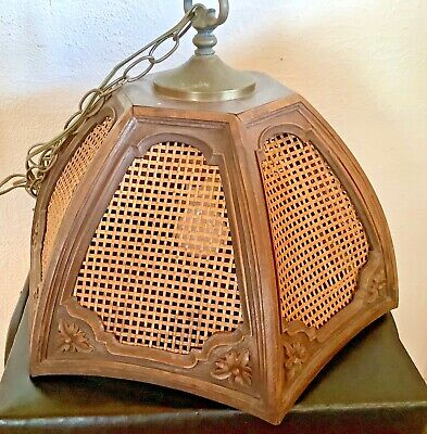 Vtg  HANGING Woven wood Swag Lamp Light WICKER cane RATTAN Shade mid Century