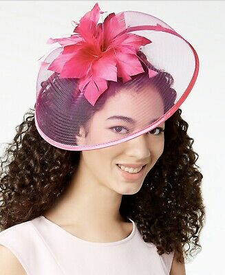 August Hats Women's Fascinator with Feathers and Veil Headband, Fuchsia (A30-47)