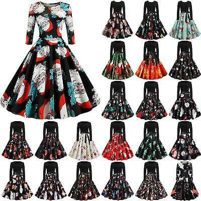 Women 50s Vintage Christmas Printed Swing Dress Long Sleeve Party Skater Dresses