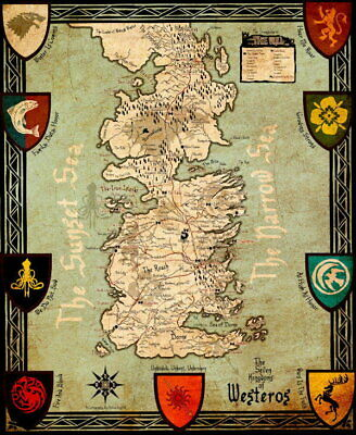 100112 Game of Thrones Map Collector Decor LAMINATED POSTER AU