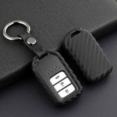 For Honda Accord CR-V HR-V Jazz Civic Carbon Fiber Key Fob Case Cover Keychain